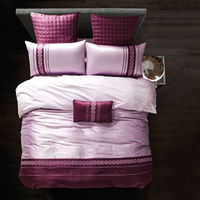 Brief Simple Style Silk Bamboo Fiber Bedding Sets Purple Light Violet Solid Linens Queen King Size