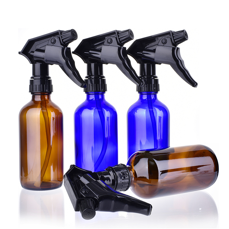 4pcs/set 240ml glass spray bottle Refillable empty Bottles with black trigger spray top for cleaning aromatherapy essential oil 6pcs 1oz 30ml amber glass spray bottle w black fine mist sprayer refillable essential oil bottles empty cosmetic containers