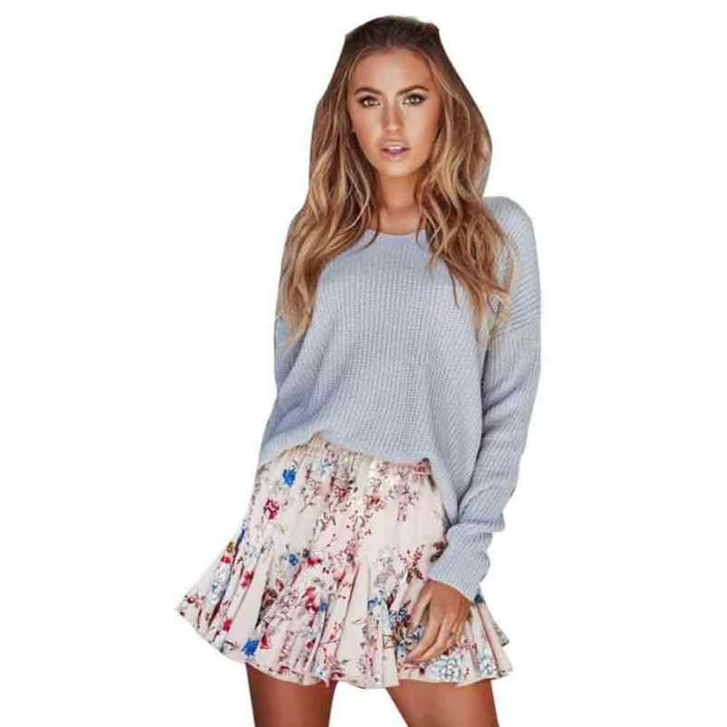 1ee374e0206a  4 2018 Fahion Womens Flower Print Party Cocktail Mini Skirt Ladies Summer  Skater Skirt Natural