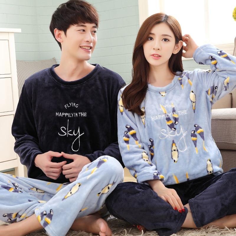 Women And Men Winter Thick Coral Fleece Couple   Pajamas   Long Sleeve Korean Cute Cartoon Flannel   Pajama     Sets   Sleepwear