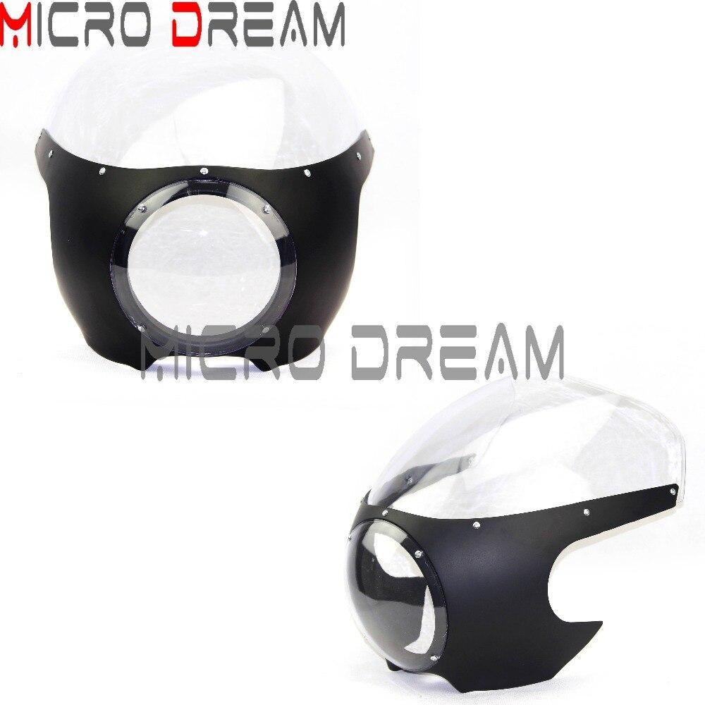Ретро Матовая черная фара обтекатель мотоцикла ясный головной свет ветровое стекло для Harley Dyna Touring Sportster Кафе Racer маска