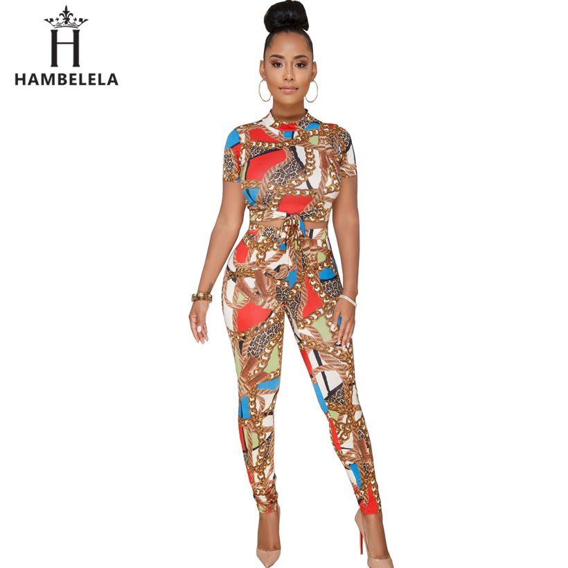 HAMBELELA New Fashion Crop Top 2 Pieces Print Chain Jumpsuits Women Summer Casual Elegant Rompers Womens Jumpsuit Sexy Overalls