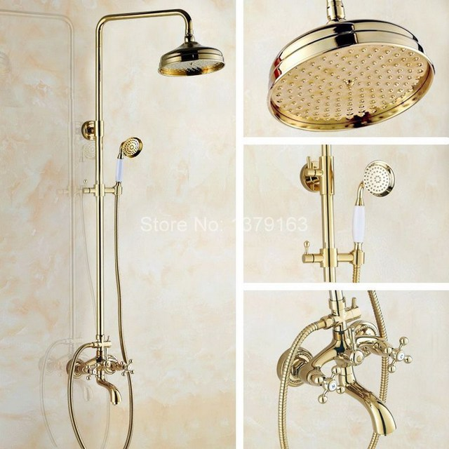 Luxury Modern 8 Inch Shower Head Gold Polished Brass Bathroom
