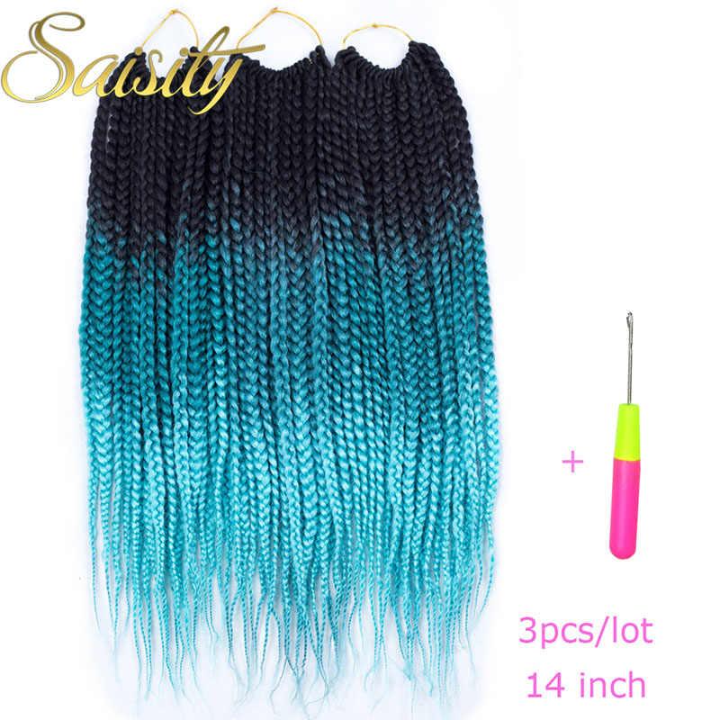 Saisity Crochet Box Braids Crochet Braids Hair Extensions Synthetic Braiding Hair Ombre Colors Bulk 14inches