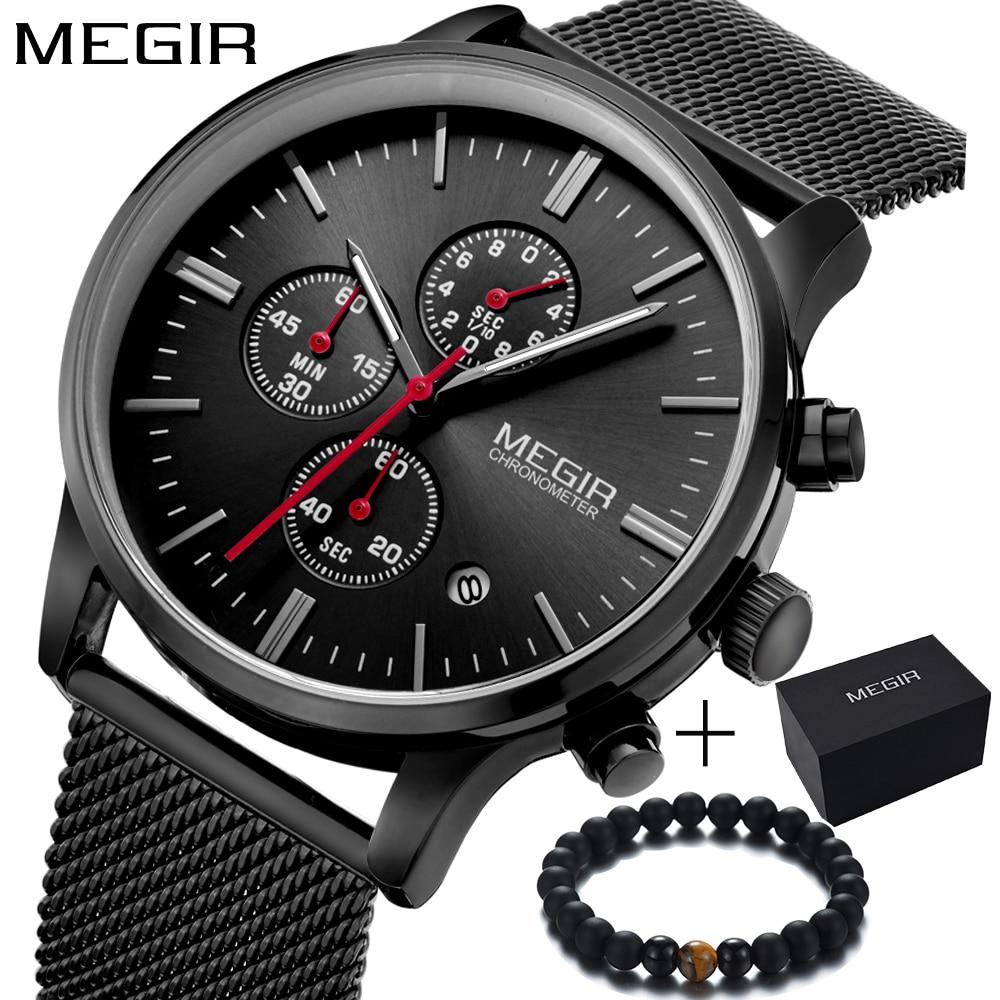 0daf26f0ec2 Megir Marca simples Moda de Luxo esporte CRONÓGRAFO masculino relógio  vestido relógio de quartzo homens relógio de pulso dos homens da banda de  malha de aço ...