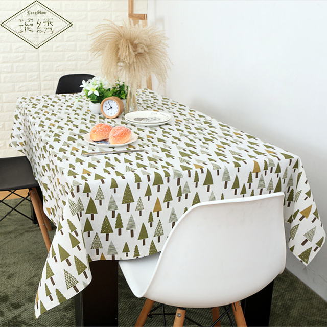 Fresh Japan Korea Zakka Style Green Trees Flower Dot Pattern Printed Cotton Linen Tablecloth For Home Decoration