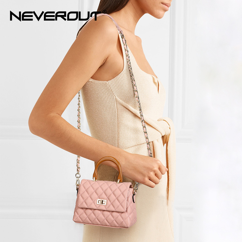 NEVEROUT Classic Women Genuine Leather Handbag Ladies Boston Shoulder Solid Messenger Bag Sac small Cross Body Bag Designer Tote neverout oil wax style split leather bag for women vintage boston bag shoulder sac 3 color handbags tote zipper tote new handbag
