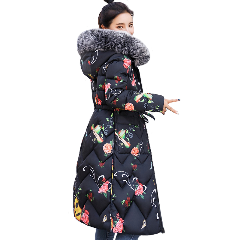High Quality Women Winter jacket Double Two Sides Printing Ladies Coat Cotton Padded Warm Slim Female   Parka