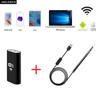 JINGLESZCN WiFi Endoscope Wireless USB Camera 5.5MM Lens Visual Ear Otoscope Endoscope Borescope Inspection for Android IOS PC