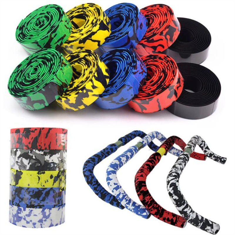 2Pcs Road Bike Bicycle Handlebar Tape Camouflage Cycling Sports Mountain  Bike Cork Handlebar Tape Bicycle Parts