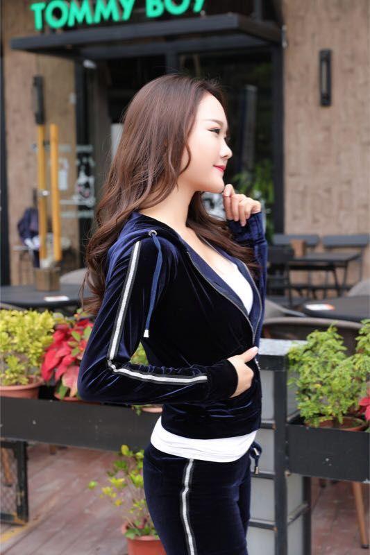 Populaire Style Hauts de Velours et Pantalon Sportwear Femmes Survêtement