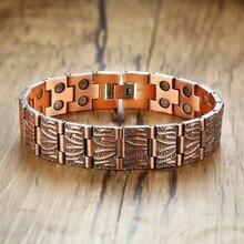 Vinterly czysta bransoletka z miedzi mężczyźni łańcuch ręczny Vintage Wrist Band bransoletka magnetyczna miedź zdrowie bransoletka energetyczna dla mężczyzn 2018