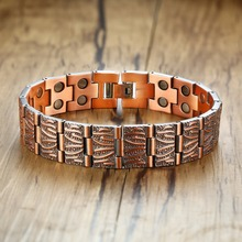 Vinterly pulseira de cobre puro mão corrente vintage pulseira de pulso magnético cobre saúde energia pulseira para homem 2018