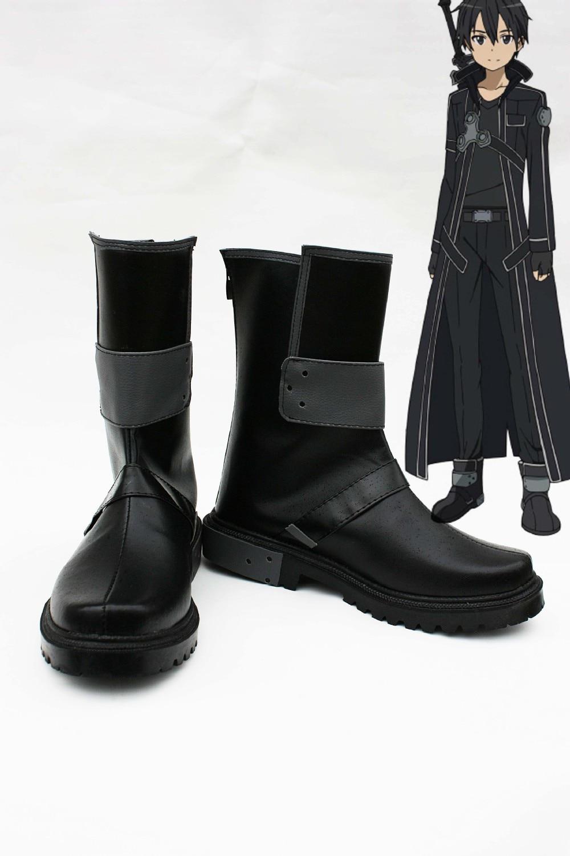 Individualiai pagaminti juodi Kazuto batai iš Sword Art Online Cosplay
