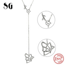 Highly recommend 100% 925 sterling silver butterfly and flower pendant chain necklace diy fashion jewelry making for women gifts