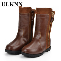 ULKNN Girls Winter Boots Children Shoes Kids Snow Boots Double Side Zipper Soft Leather Plush Bota