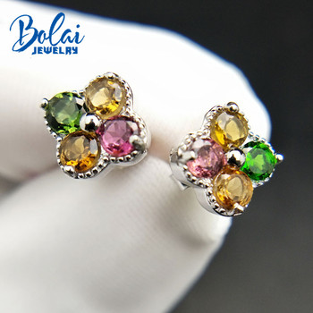 Bolai romantic natural tourmaline studs earrings 925 sterling silver multi color gemstone jewelry for women girl small earrings