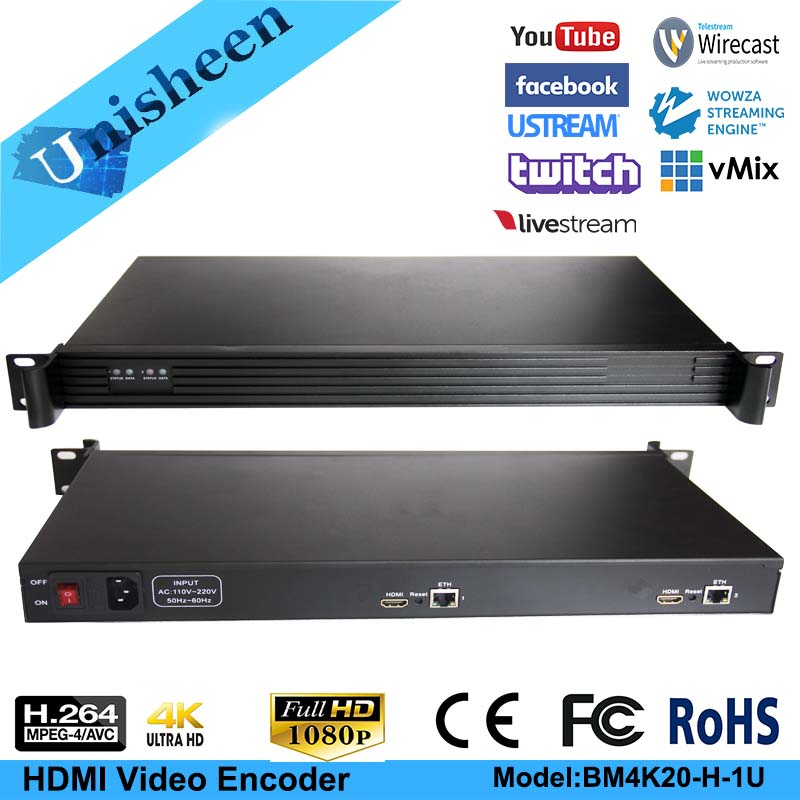 MPEG-4 AVC/H.264 4K UHD 2 Channel HDMI Encoder Replace HD Video Capture Card Youtube Facebook Ustream Stream Encoder