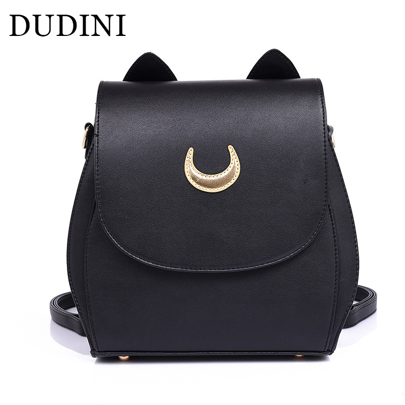 DUDINI New Sailor Moon Black PU Leather Backpacks School Bags For Teenagers Women Shoulders Rucksack Fashion