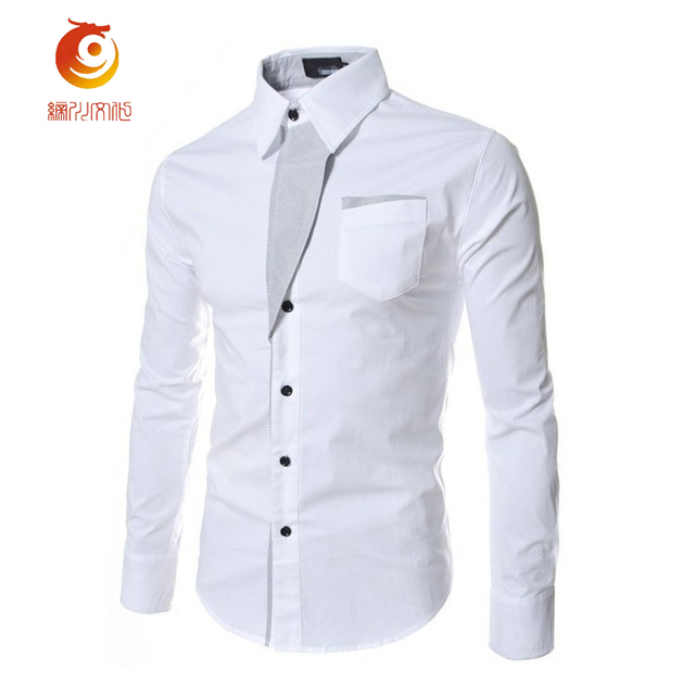 8f622a7d352 2017 Mens White Dress Shirts Brand Long Sleeve Striped  twill Mens Work  Shirts Male Shirts