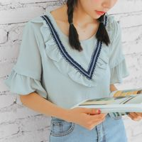New Preppy Style Women Shirts Chiffon O-Neck 2 Small Black Lace Color Blouse Shirt White Mint Green 162