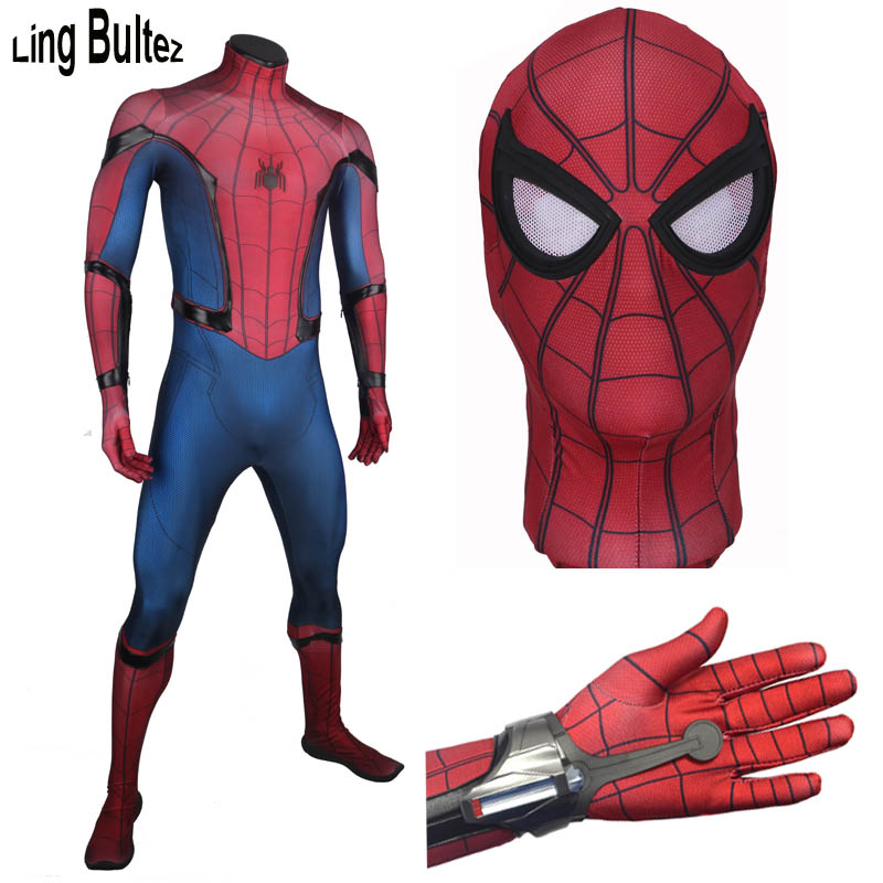 Ling Bultez High Quality Homecoming Spiderman Shooter With Costume Tom Spiderman Suit With 3D Logo New Tom Spiderman Cosplay