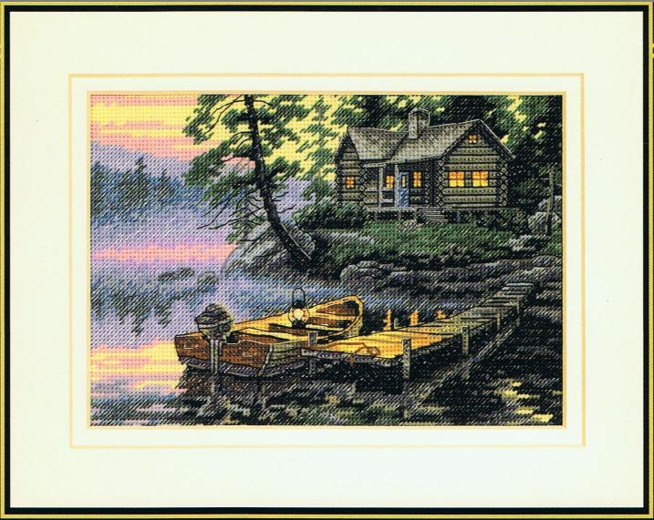 cs-2122 Cross Stitch Kit Morning Lake Village Boat Vessel House Cottage Home dim 65091