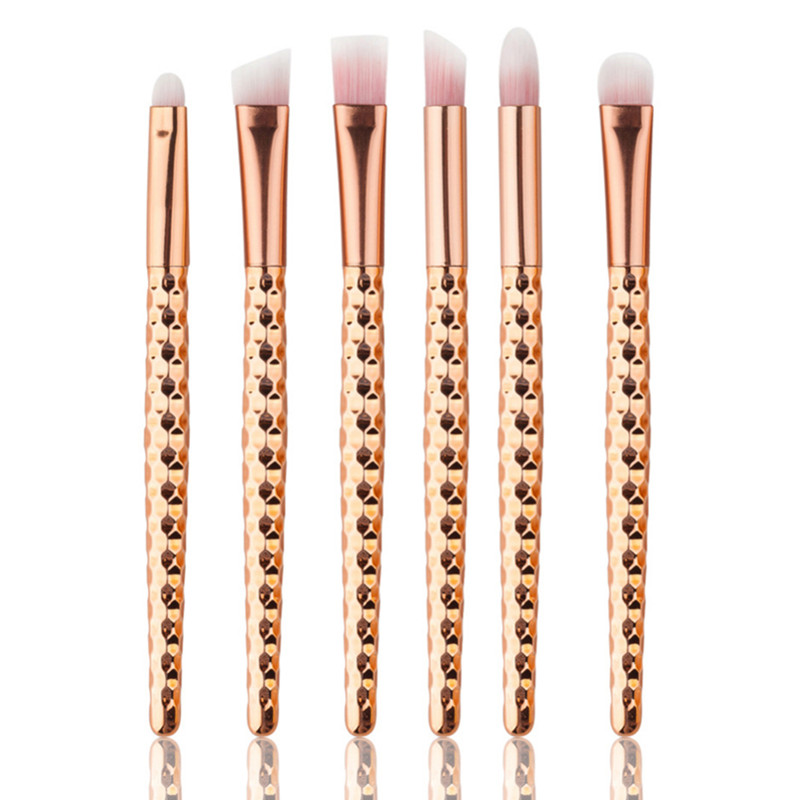 6Pcs Rose Gold Makeup Brush Set for Eyes Soft Hair Makeup Brush Cleaner Homeycomb Face Contour Eyeliner Eyebrow Eyeshadow Brush