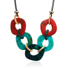 Fashion Jewelry Women Geometric Acrylic Necklaces & Pendants Statement Collar Colorful Choker Necklace for Women Ladies Gift