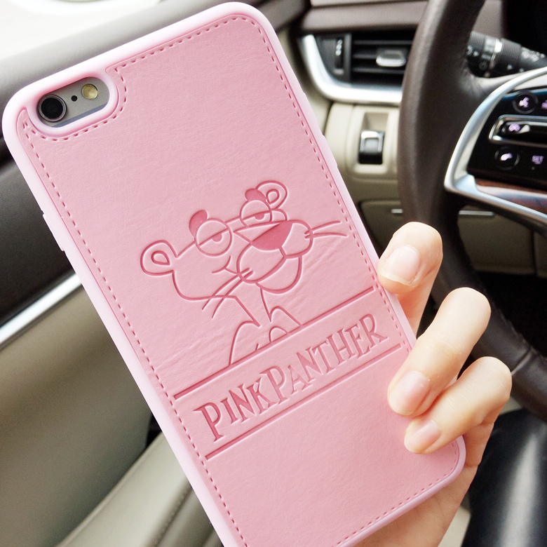 For iPhone 6 6s 6 Plus PU Leather Cartoon Panther Cases Soft Pink Panther Soft Shell Cover for iPhone 7 7 Plus Cqoue Fundas