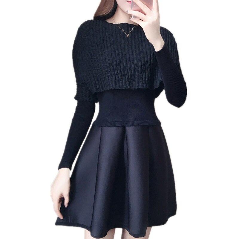 Elegant Round Neck Knit Autumn/Winter Womens Clothing Vestidos A-line Sweater Dress Black Mini Robe Casual Robe Pull TT3594