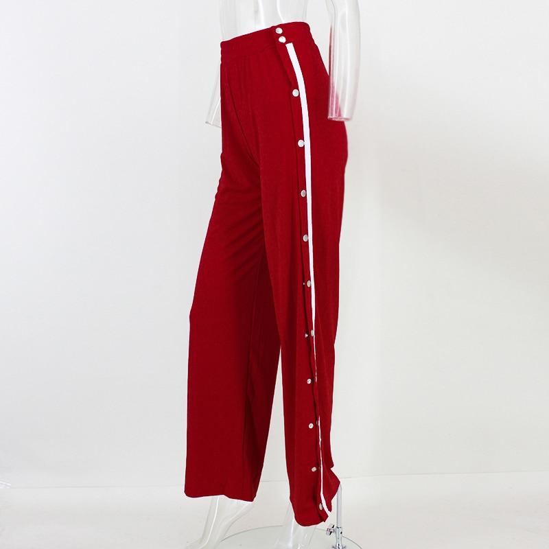 HTB1nBCcSpXXXXcYXpXXq6xXFXXXF - Red button track pants runway Women's wide leg trousers casual pants JKP012