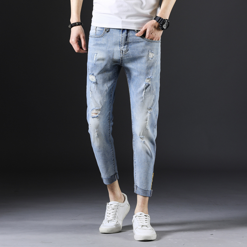 KSTUN Men's Jeans Skinny fit Thin Stretchy Sky Blue Ripped Distressed Hiphop High Street Yong Boys Students Trendy Jeans Large Size 38 11