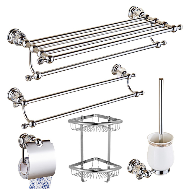 European Style Silver Crystal Bathroom Accessories Sets Chrome Finish Wall  Mounted Bathroom Hardware Sets YM038