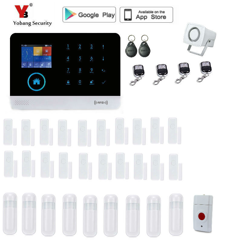 Yobang Security 2.4-inch monitor Wireless Home Security WIFI GPRS GSM Alarm system APP Remote Control RFID burglar alarm yobang security rfid gsm gprs alarm systems outdoor solar siren wifi sms wireless alarme kits metal remote control motion alarm