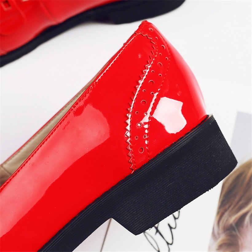 Britse Kwastje Loafers Schoenen voor Vrouwen Casual Rood Carving Lakleder Platform Flats Vintage Oxford Slip-on Dames Moccassins