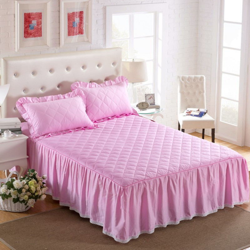 THICKEN winter quilted bed skirt 100% cotton Bed cover cotton pad - Home Textile - Photo 3