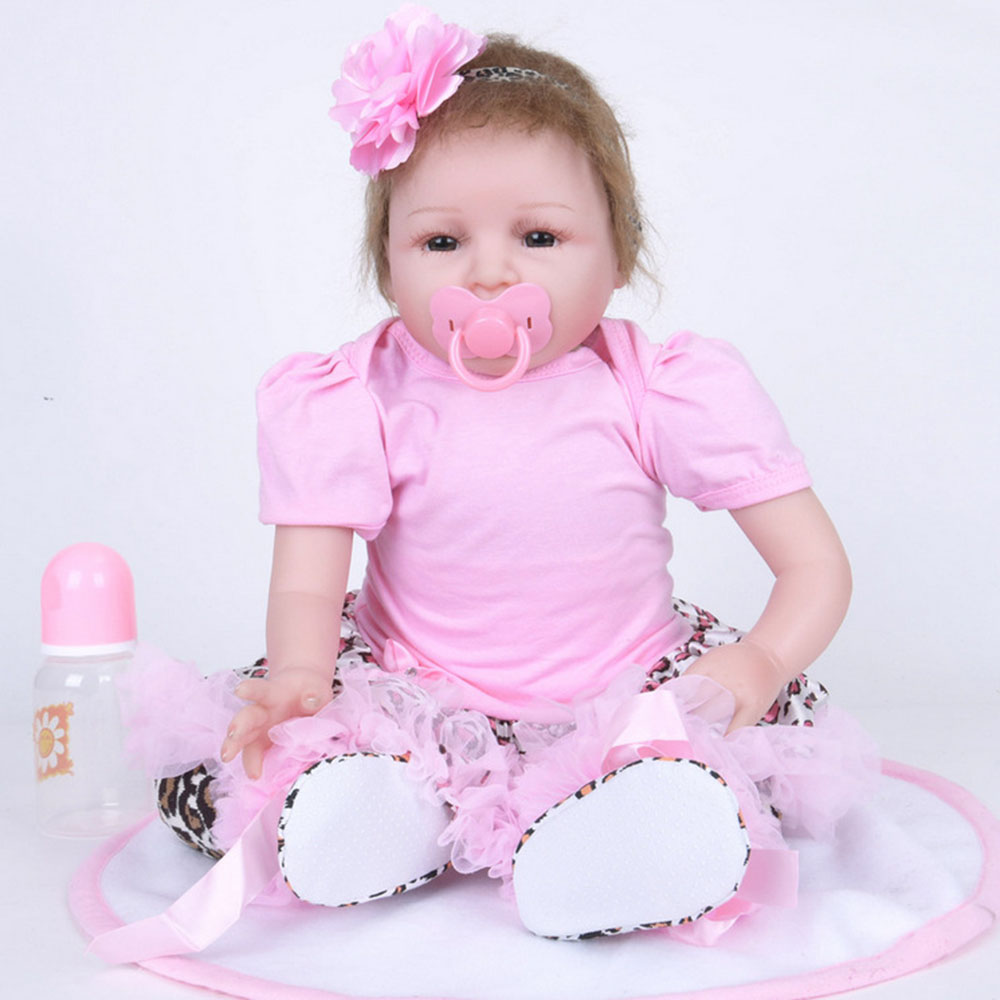 22 inches Lovely Reborn Girl Doll Soft Silicone Cute Princess Newborn Baby with Cloth Body Toy for Kids Birthday Christmas Gift 22 inches realistic reborn girl doll soft silicone lovely princess newborn baby with cloth body toy for kids birthday xmas gift
