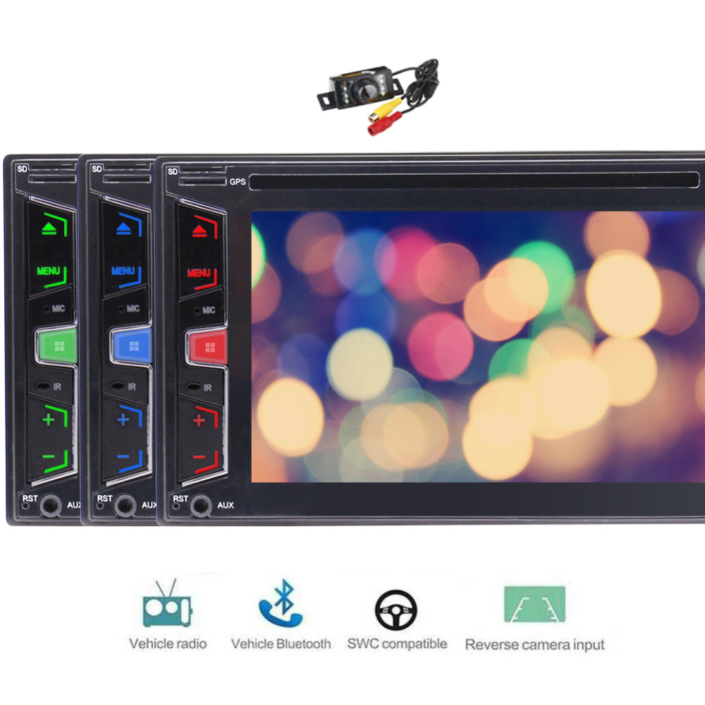 FREE Backup Camera 2 Din Car Stereo DVD Player GPS Navigation Radio Bluetooth Capacitive Touch Screen support USD SD 1080P
