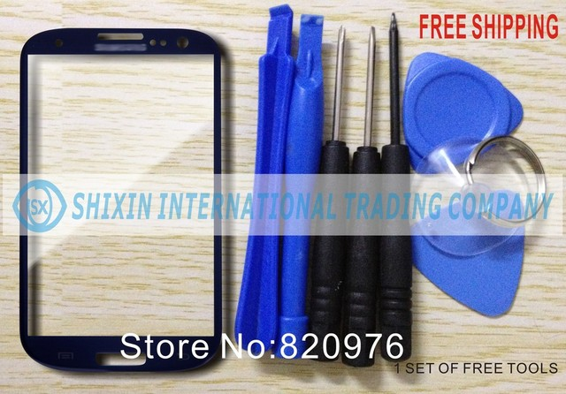 100% Quality good Original Blue Phone LCD Touch Screen Lens Top Glass Phone panel glass Replace for samsung GalaxyS3 i9300 9300