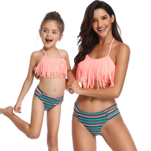 Hot Sale Mommy And Me Halter Swimwear Fringe Solid Pink Bikini Set Family Matching Swimsuit Mother and Daughter Cut Out Swimsuit недорого