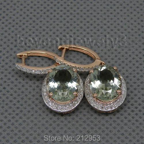 Овальный 9x11 мм природных алмазов зелёные аметистовые серьги 14 К к розовое золото Висячие серьги для Свадебная вечеринка