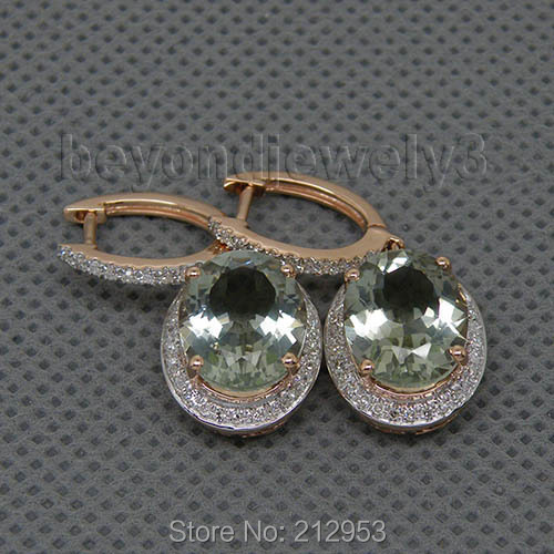 Oval 9x11mm Natural Diamonds Green Amethyst Earrings 14K Rose Gold Drop Earrings For Wedding Party