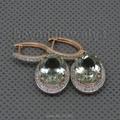 Oval 9x11mm Natural Diamonds Green Amethyst Earrings 14K Rose Gold Drop Earrings For Wedding Party