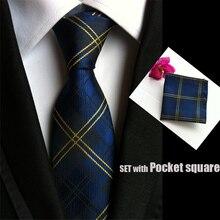 Пейсли мужские модные галстуки для Мужские галстуки бизнес платье галстук из искуственного шелка жаккард ежедневный галстук платок Набор TZ001