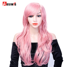 Pink Long Wavy Wig Synthetic Hair Costumes Party High Temperature Fiber Cosplay Wig for Women AOSIWIG