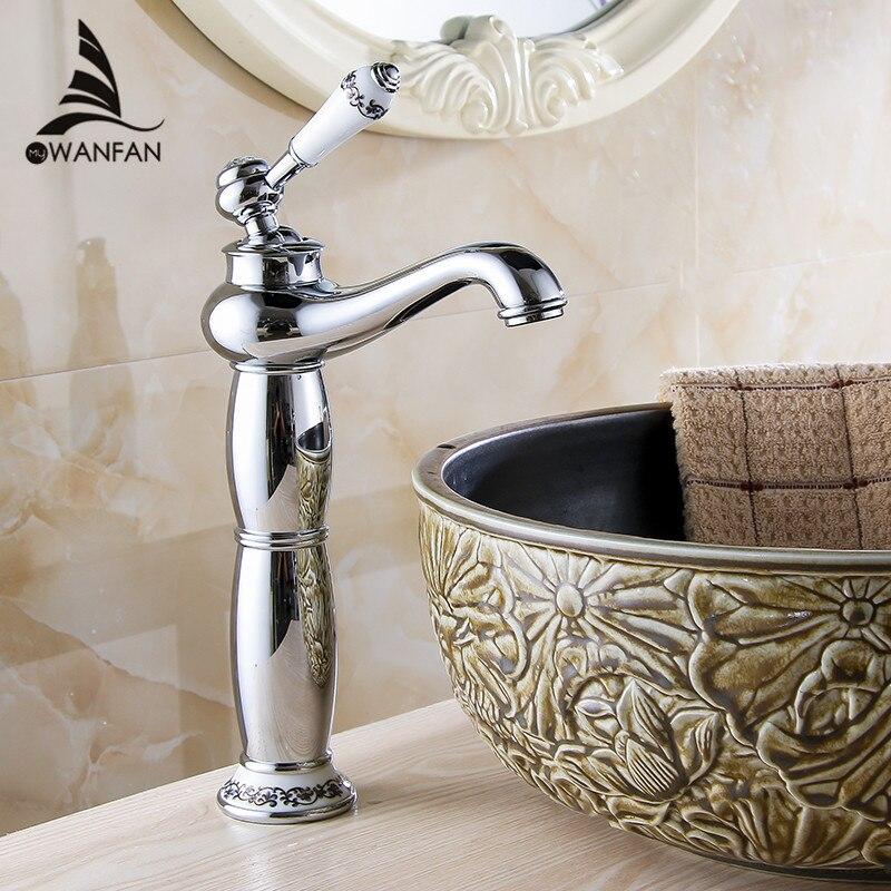 Basin Faucet Brass Chrome Silver Bathroom Sink Faucet Single Handle Ceramics Bathbasin Deck Hot Cold Mixer Water Tap Crane 2020L