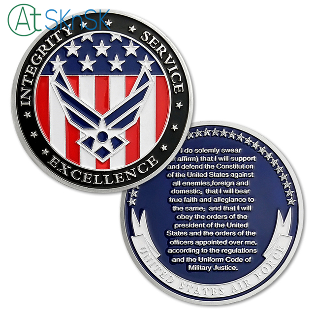 US $5 39 40% OFF|1/3/5/10pcs/lot USAF U S  Air Force Oath of Enlistment  Challenge Coin Motivational Navy Army Commemorative Souvenir Coins-in