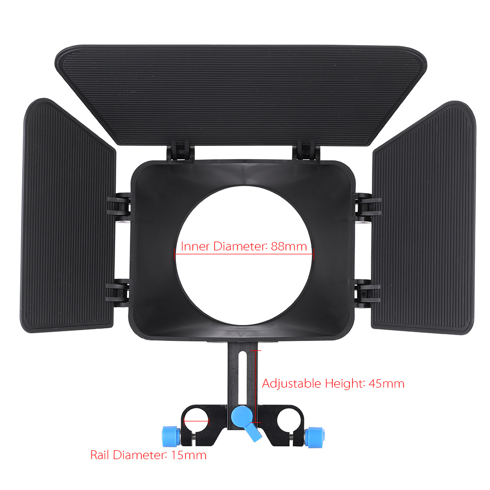 Matte Box Sunshade for 15mm Rail Rod Follow Focus Rig Viltrox Camera Cage Movie Kit Film
