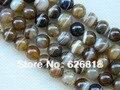 ( 3 fios / set ) 10 mm café onyx ágata rodada solta pérolas pedra pulseiras e pulseiras